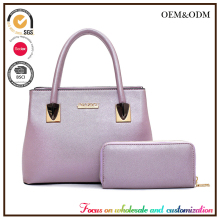 L309 Modern fashion color matching high quality pu 2 pcs in 1 set bags women purse long strap women handbag with tote