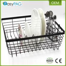 Metal kitchen storage basket dish organizer drying rack