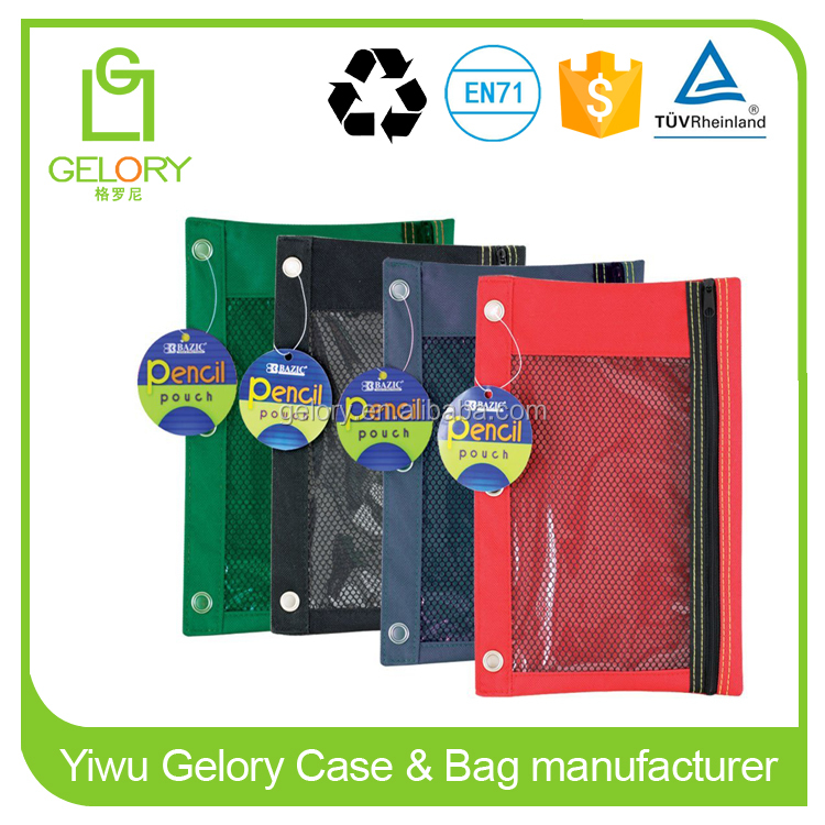 Clear view 3-Ring Pencil Pouch Polyester zipper binder pouch