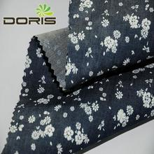 flower printed cotton rose pattern denim fabric for dress