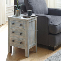 Shabby chic small rustic natural wood home storage cabinet sofa side table