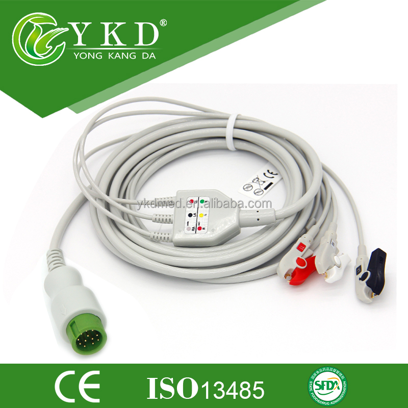 One-Piece ECG Cable with 3lead,AHA/IEC ,Clip for BeneView T5/T8, Beneheart D6 and iPM-9800