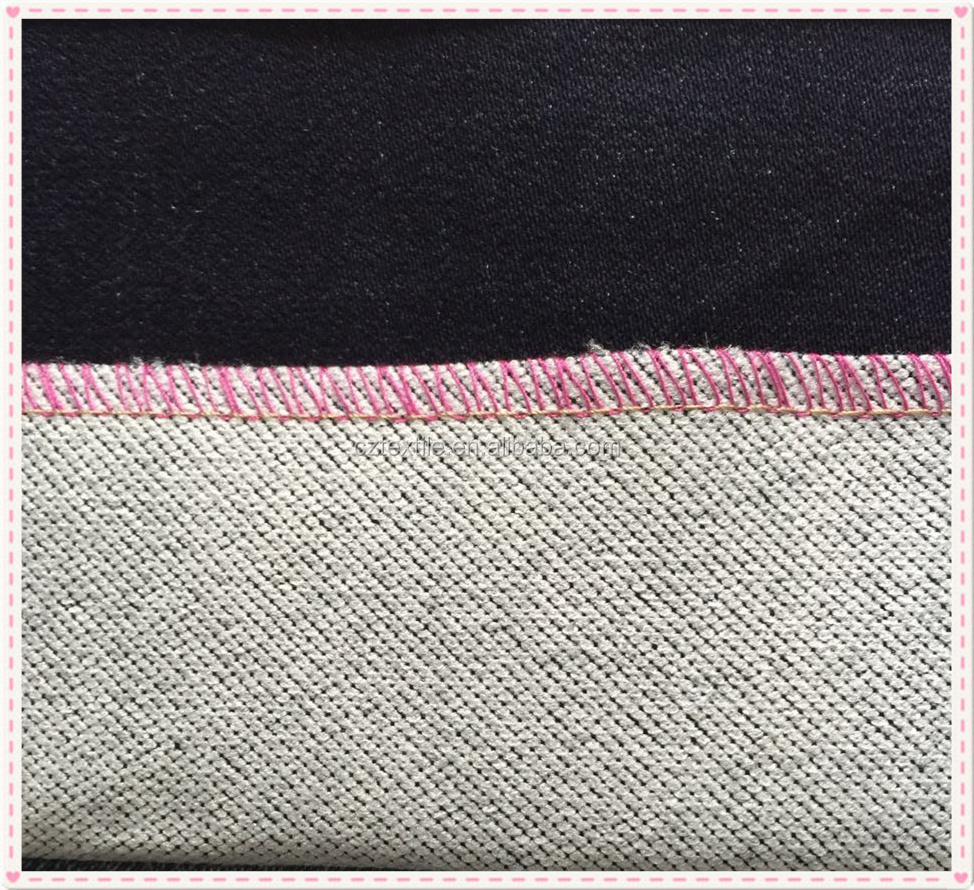 Cotton/polyester/spandex fake knitted denim double layer soft stretch fabric