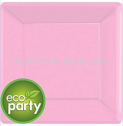 Eco Friendly Pink Square Paper Dinner Plates 10in 20ct