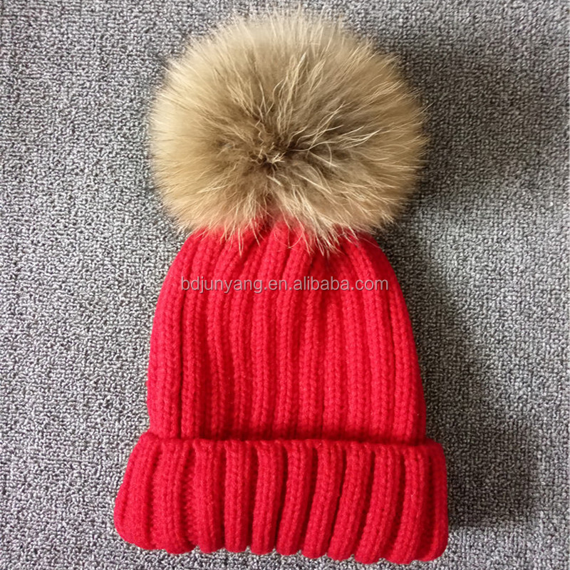 Superior quality girls fashion fur pendant kids fur hat pom pom beanie knitted hat baby raccoon