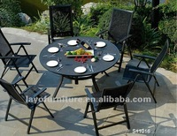 7pcs Alum Frame Dining Table Sets With Spraystone on Table Top outdoor dining round table sets