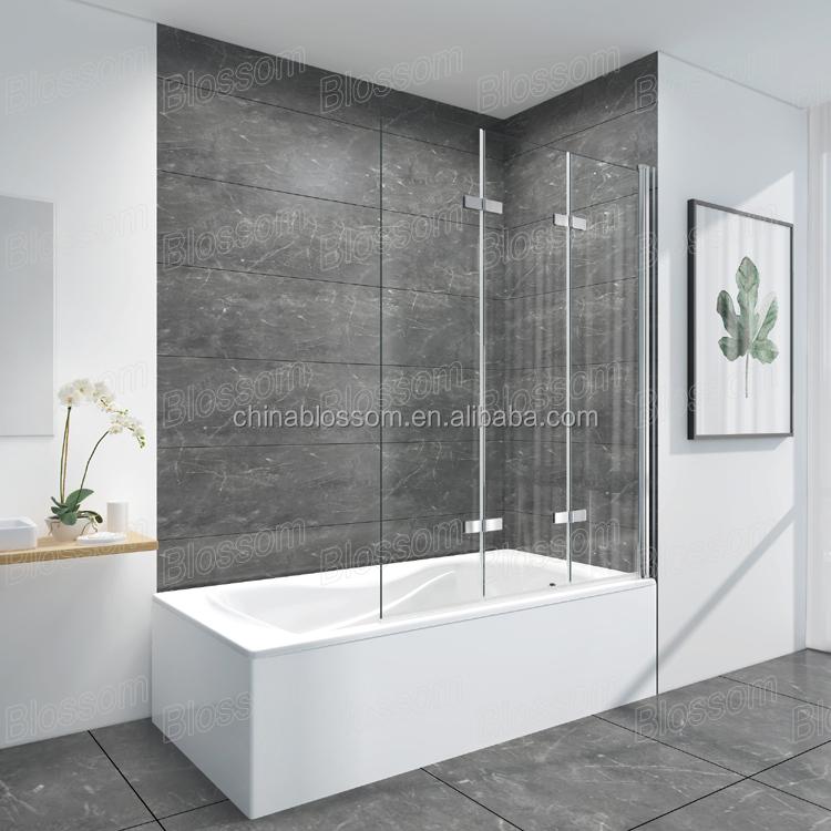 China Blossom 3 Panels Bathroom Hinges Frameless Doors Glass Bath ...
