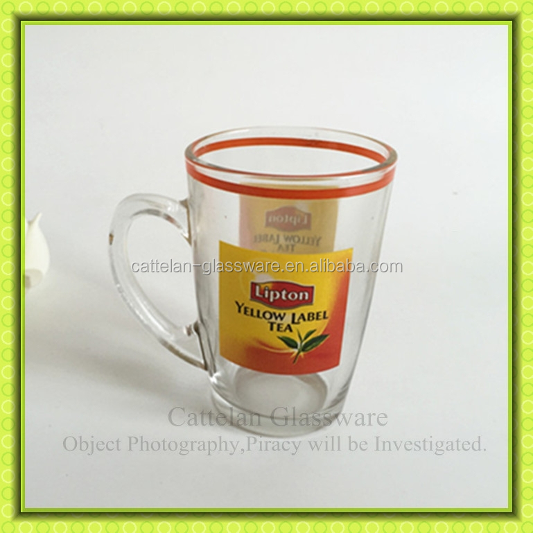 200ml Lipton glass tea cups,glass mug with handle for tea,black tea drinking glass tumbler