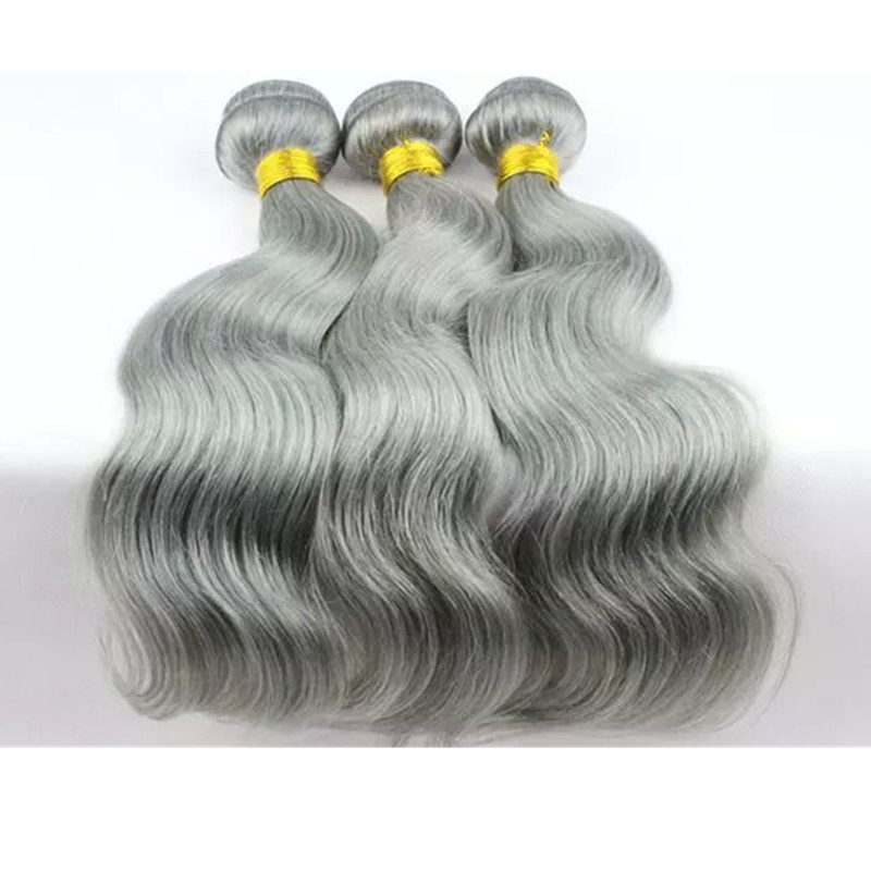 100 percent remy hair extensions gray human hair, hot selling gray hair weave
