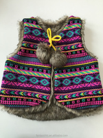 2016 hot sale aztec jacquard acrylic knitted kid ethnic winter wear with faux fur lining and fun pom