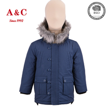 Taiwan Children Boys Winter Warm Clothes With Fake Fur Hood