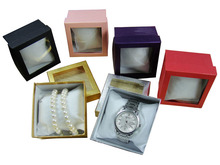 plain color jewelry box with PVC lid, wholesale jewelry box