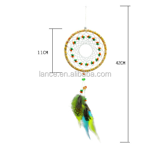 best selling China direct Factory wholesale cherokee indian wind chime dream catcher with natural feather for car decoration