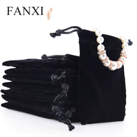 FANXI Hotselling Custom Logo Black Jewellery Bag 50 PCS/Pack Shop Ring Earrings Necklace Gift Package Bags Velvet Jewelry Pouch