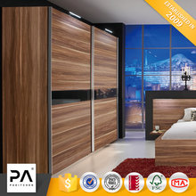 sliding moving door wood grain cheap laminated plywood bedroom wardrobe design with mirror