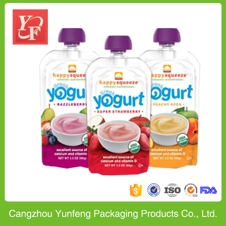 high quality standing up yogurt pouch with corner spout