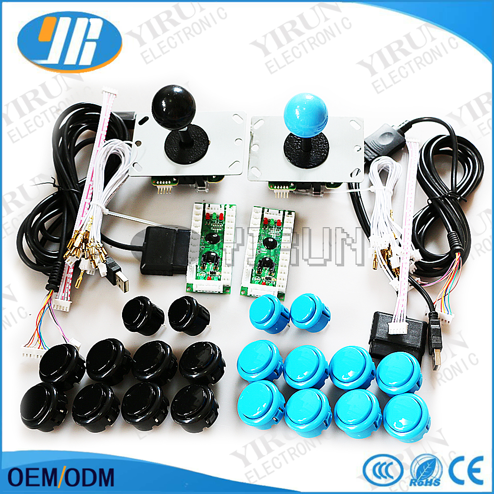 DIY Arcade Game DIY KIT for PC/PS2/PS3 USB Encoder+SANWA Joystick+ SANWA 30&24mm Push Button+cable for PCB