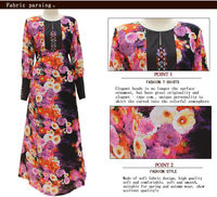 2014 fashion dubai flower fancy abaya for islamic design printed women maxi dress