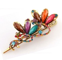 Chinese Style Hair Clips Double Flowers Crystal Ribbon Vintage Gold Plated Hairpins For Women