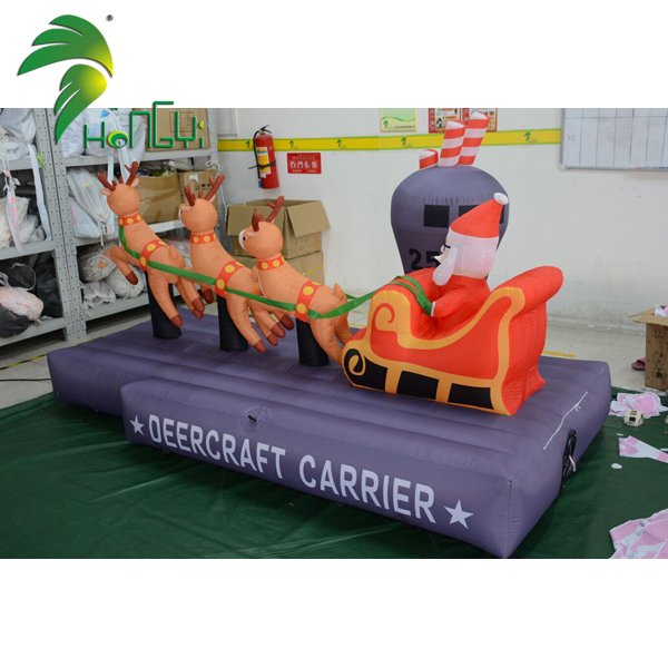 Wholesale Inflatable Kurt Russell Santa Claus Modeling Custom Inflatable Santa With Deers For Sale