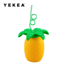 Custom Plastic Fruit Pineapple Cup with Straw