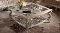 Luxury white color solid wood hand carved living room furniture glass top square coffee table