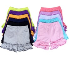 Wholesale baby girl double ruffle shorts kids cotton ruffle shorts children boutique shorts
