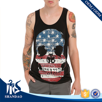 Guangzhou Shandao OEM Wholesale Casual Summer 95% Cotton 5% Spandex O Neck Sleeveless Logo Printed Tank Tops