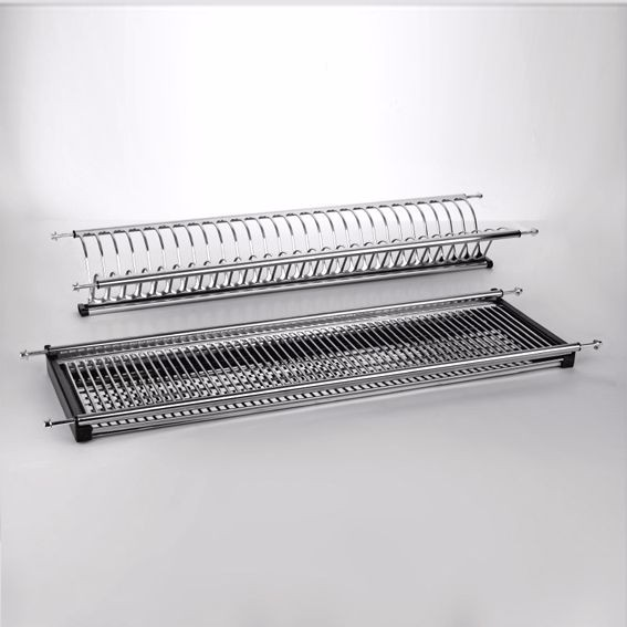 2 tiers kitchen hanging stainless steel wall mounted dish drying rack