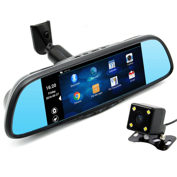 "7"" Touch Special Car DVR Camera Mirror GPS 1080p Recorder (16GB)"