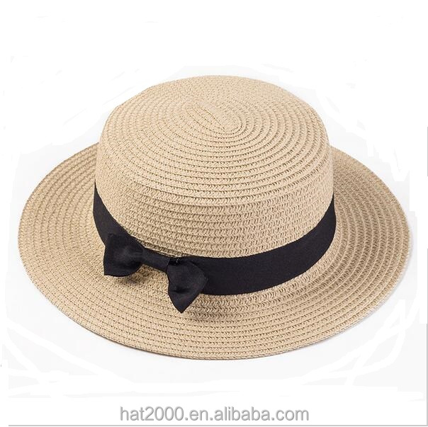 100% good queality Flat Sun Hat Women's bow Straw summer Hats For Women Beach hat 12 Colors
