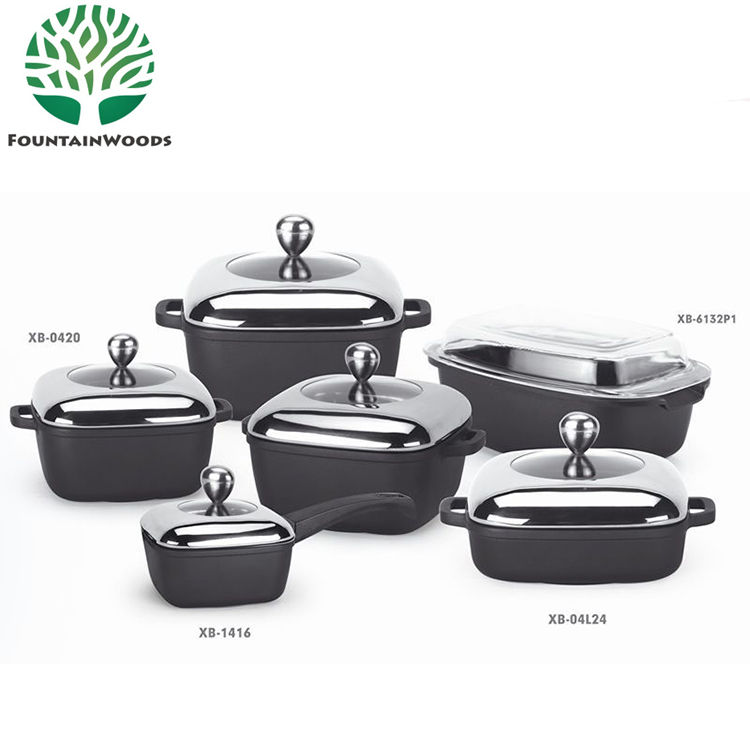 Popular Chinese Black Non-Stick Aluminum Die Cast 12 Pcs Dessini Cookware Set