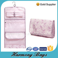 Pink print multifunctional travel folding cosmetic cases