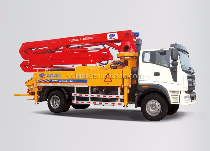 HOT!Made by China w/placing depth 28M boom cement equipment,Powerful mobile concrete truck mixer boom pump Brand of Linuo A8