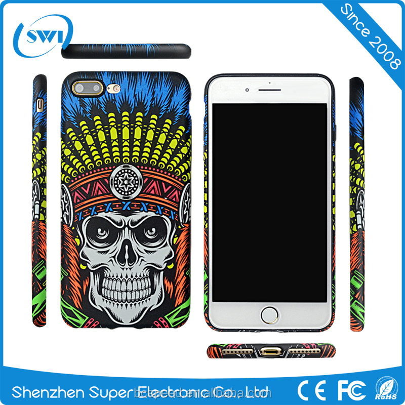 Protective skull cell case 3D luminous skull phone case for iPhone 7 plus