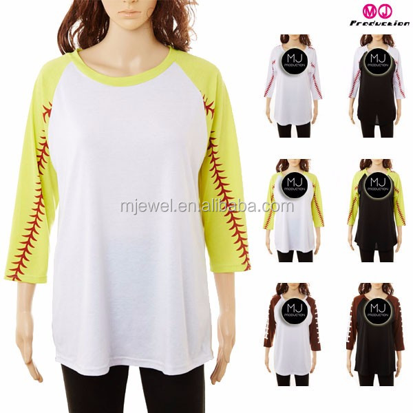 Women Chic 3/4 sleeve raglan shirt plus size football jerseys sports clothes wholesale