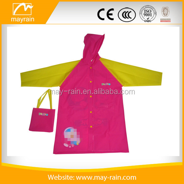 pink outdoor brand name clothing pvc raincoat