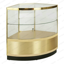 Customized shop furniture melamine storage cabinet corner showcase/jewelry corner glass display vitrine