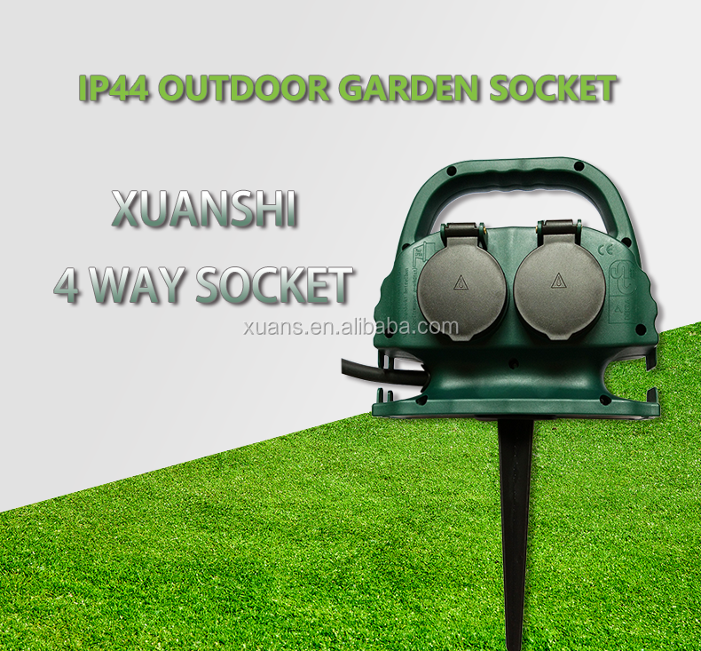 4 way german waterproof IP44 outdoor garden socket with 1.8m rubber extension cord