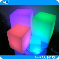 Neon glowing LED cube chair light / outdoor LED chairs and tables for bars / led cube chair with cushion