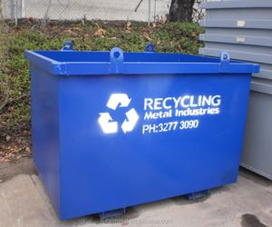 Recycling skip bins mobile garbage containers made of steel in high quality