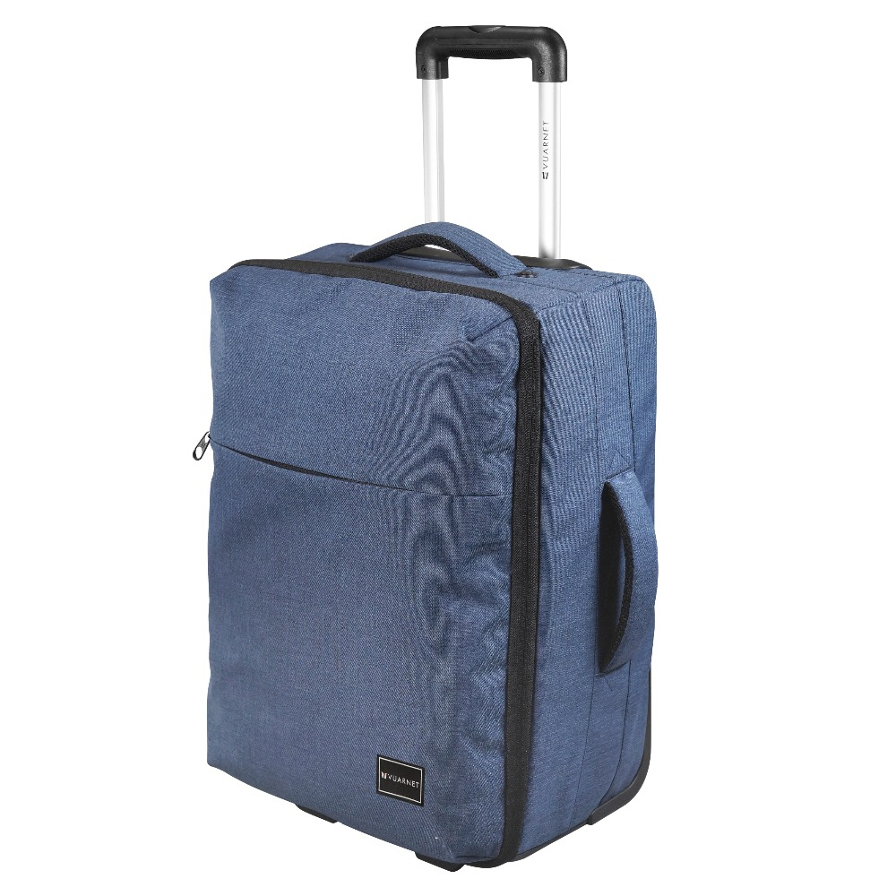 Latest Design Hong Kong Small Poly 300D PU Blue duffel Purse Commercial Trolley with Handles