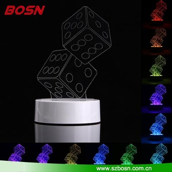 3D Dice Shape RGB USB illusion Night Light Color Changing LED Table Lamp + 24 Key Controller Xmas Gift