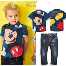 Spring children's clothing boy cartoon print shirt and jeans suit