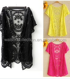 2015 New Plus Size Women's Summer for Casual Ladies Blouse Design Girl lace top