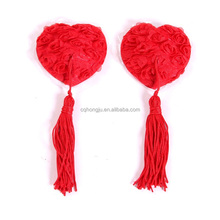 Adult sex toys for girls mesh rose tassel silicone heart shaped reusable sexy nipple cover
