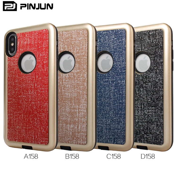 Luxury metallic coating hard pc shockproof tpu pu fabric skin for iphone x, bulk buy from china for iphone x