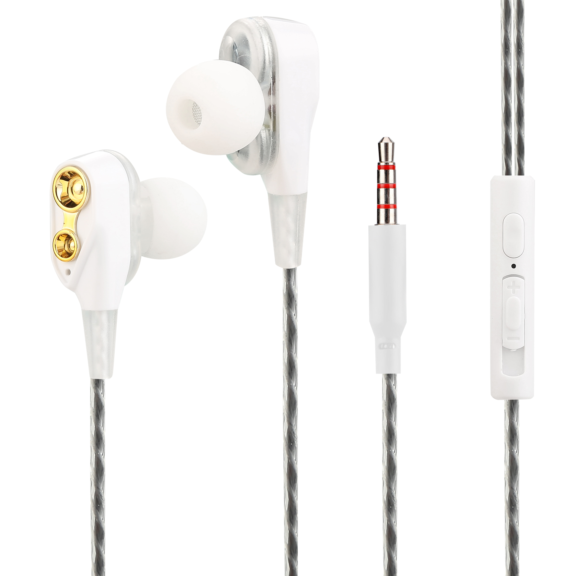 2019 New design good service high bass quality double dynamic ring driver wired earphone with mic for mobile
