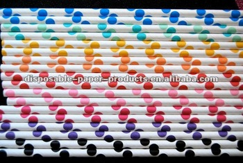 Assorted Polka Dot Paper Straws/Dots Spotted Spotty Spots Spot Polkadots Polka Dot Paper Straws in 33 Colors