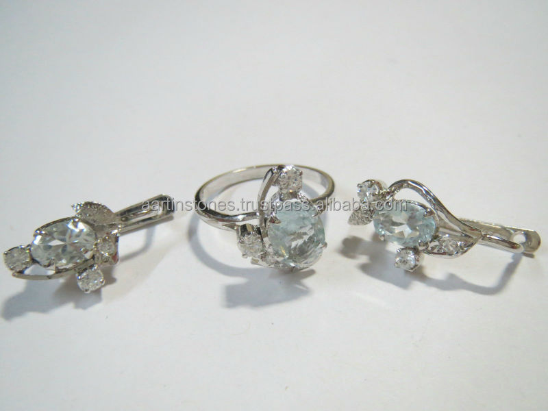 Wholesale 925 silver White Topaz Ring and Earring Set